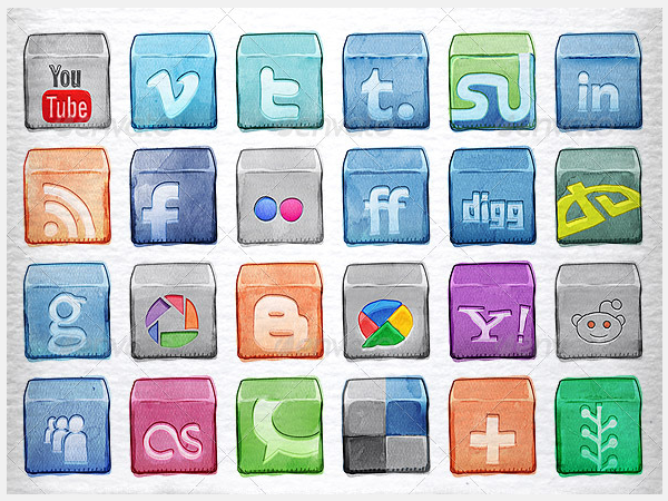 Watercolor Social Icons