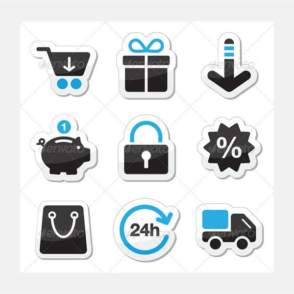 web internet icons set shopping