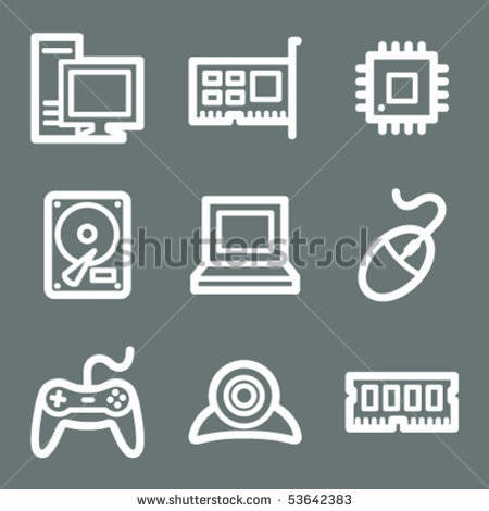 White contour computer web icons on grey