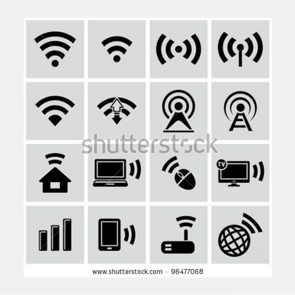 wireless technology black web icons set