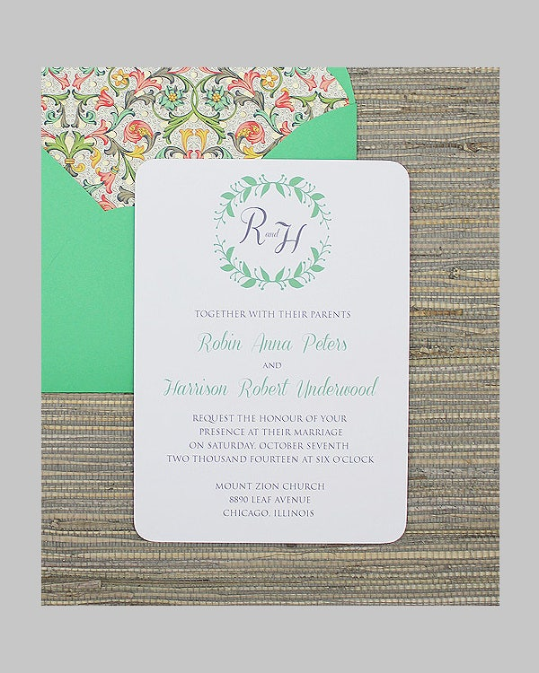 wreath wedding invitation template