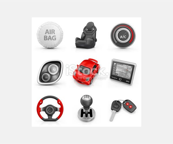 car parts icons - Stock Image