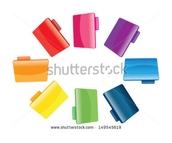 colorful folders on the white background