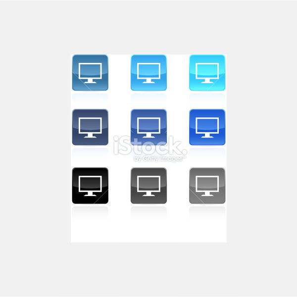 computer monitor icon set - Illustration