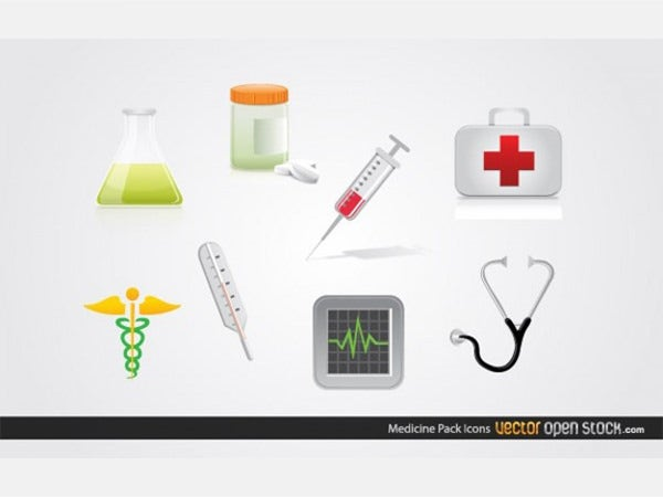 different medical vector icon set package