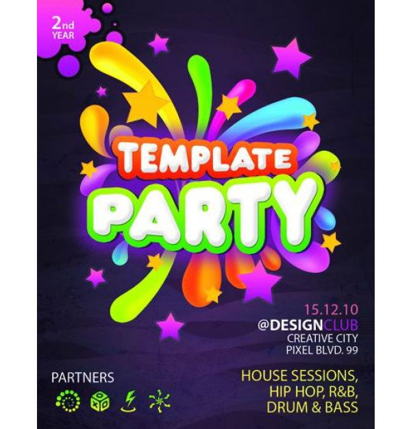 fashion party brochure psd material