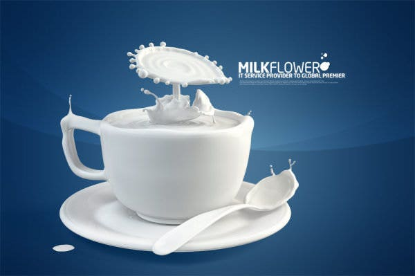 Milk Advertising Design Creative PSD Template