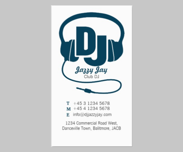 teal blue white dj promoter business card