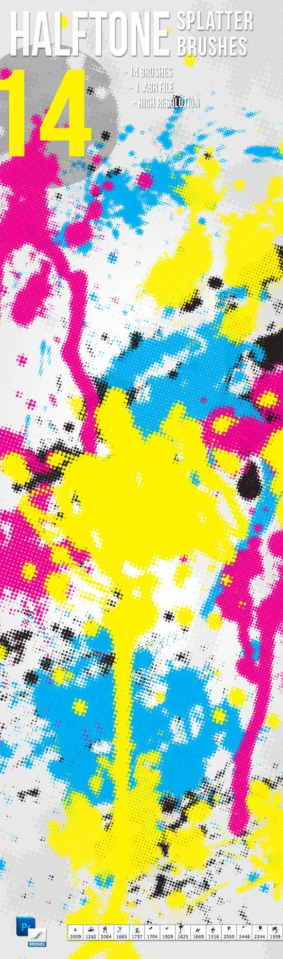 14 halftone splatter brushes