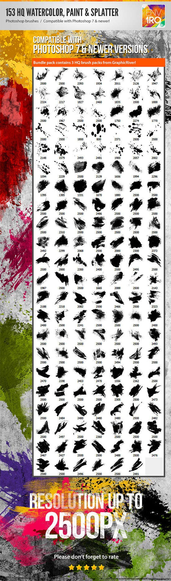 153 watercolor paint splatter photoshop brushes