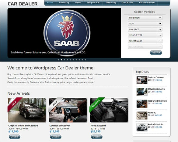 simple car dealer wordpress template