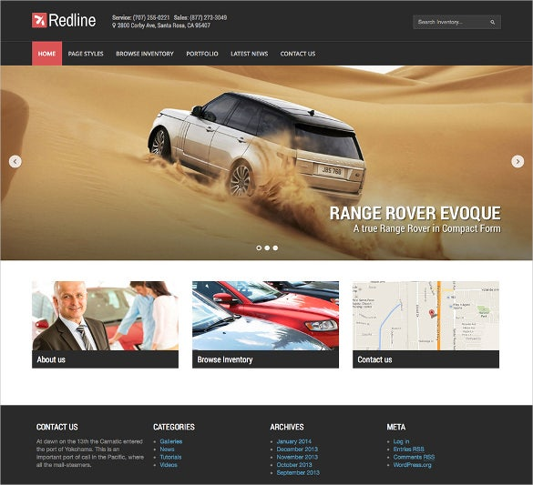 corporate car dealership wordpress theme