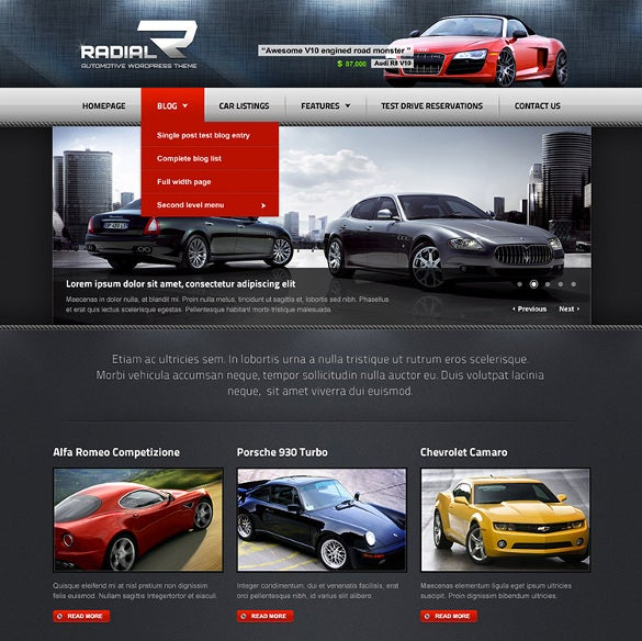 premium automotive tech car dealer wordpress template