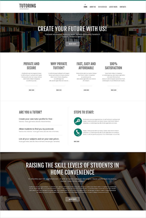 library responsive website template1