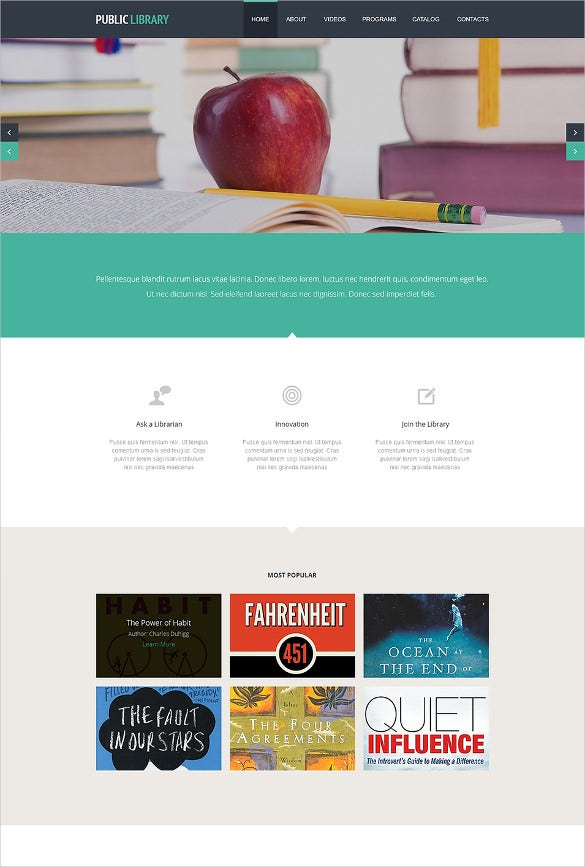 responsive library website template