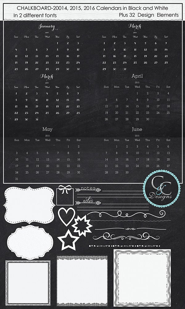 2014 2016 chalkboard calendar kit