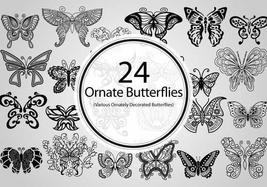 24 ornate butterflies