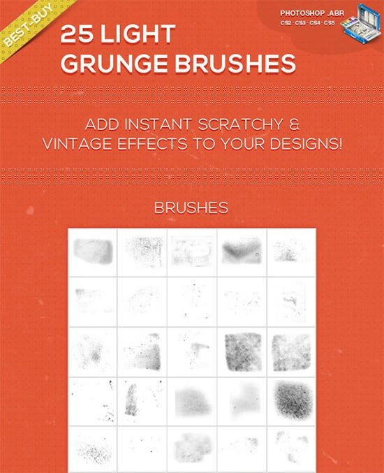 25 light grunge photoshop brushes