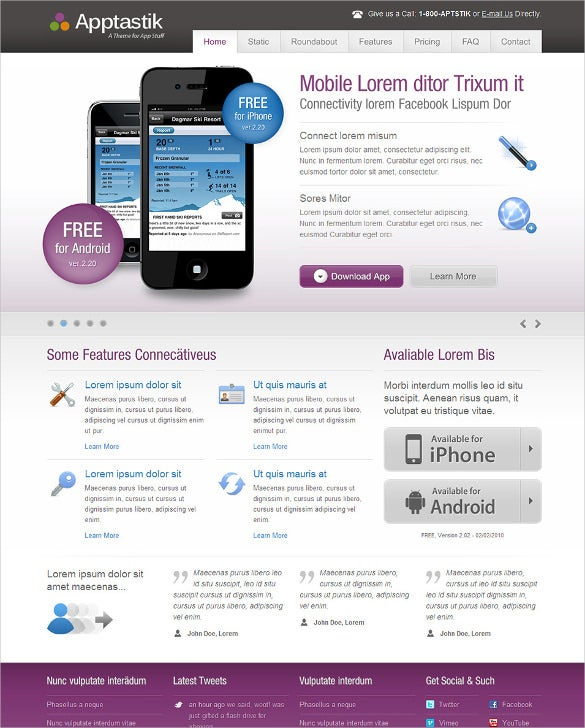 software mobile html app template