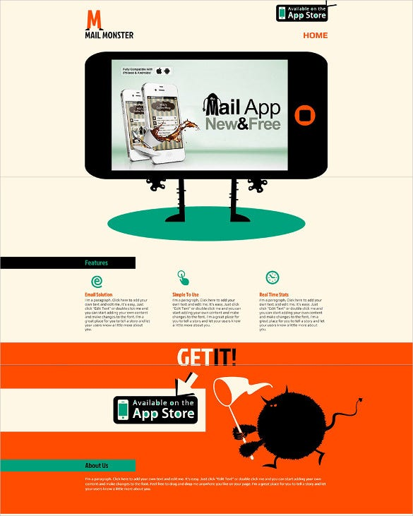 free mail app world website template
