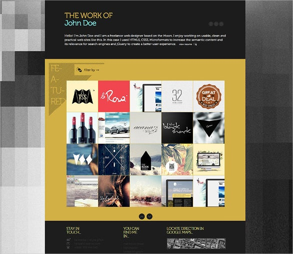 one page creative portfolio html5 template