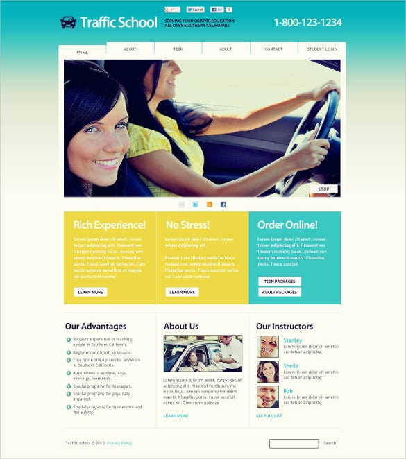 traffic school flash cms google website template