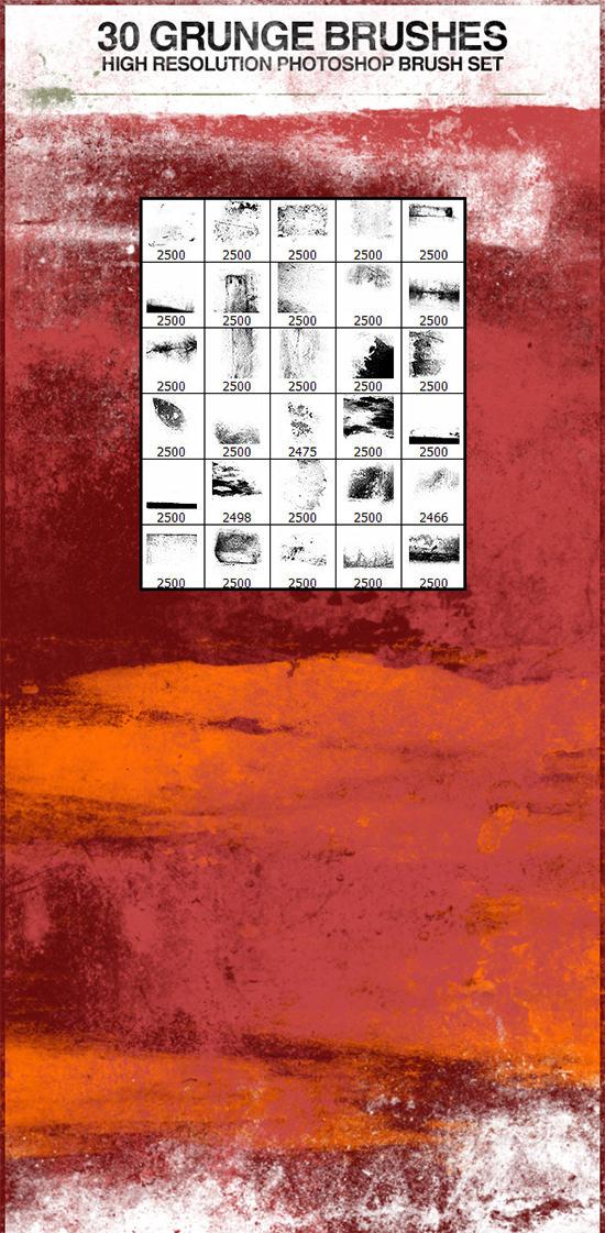 30 grunge photoshop brushes1