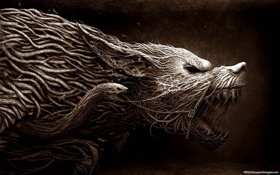 3d black and whie abstract wolf copy