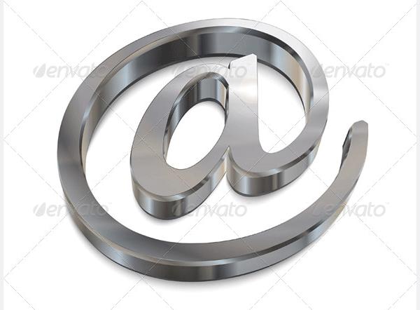 3d chrome email symbol
