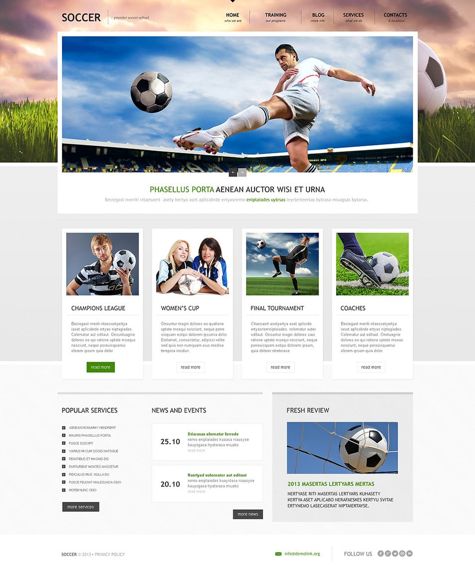 19 Soccer Club Website Themes and Templates – Schedule Design Templates
