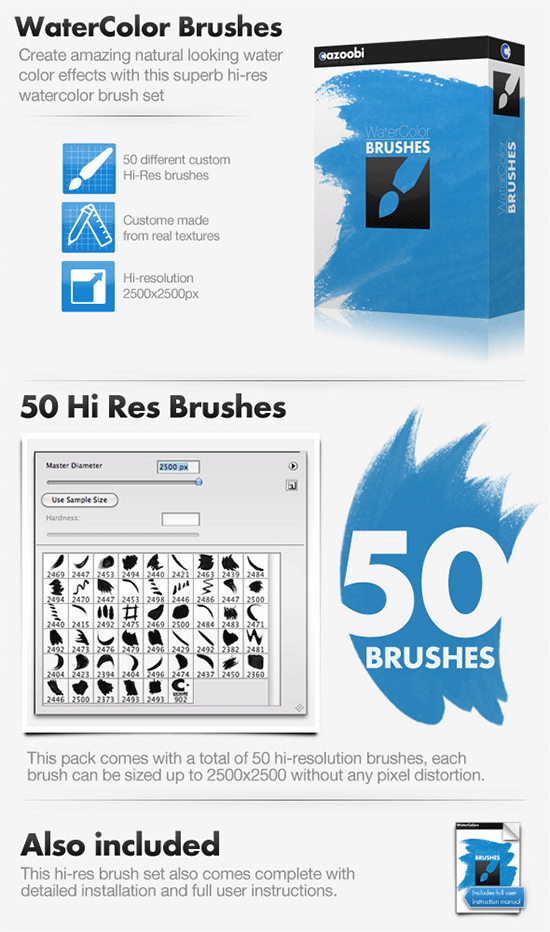 50 hi res watercolor brushes