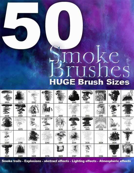 50 high res smoke brushes