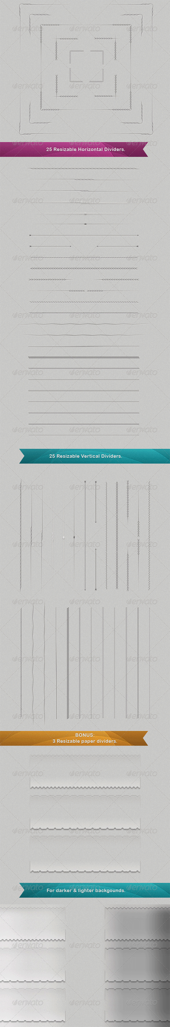 50 vector resizable dividers
