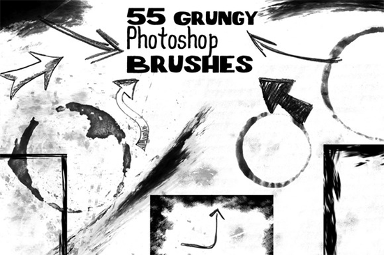 55 grunge photoshop brushes bundle