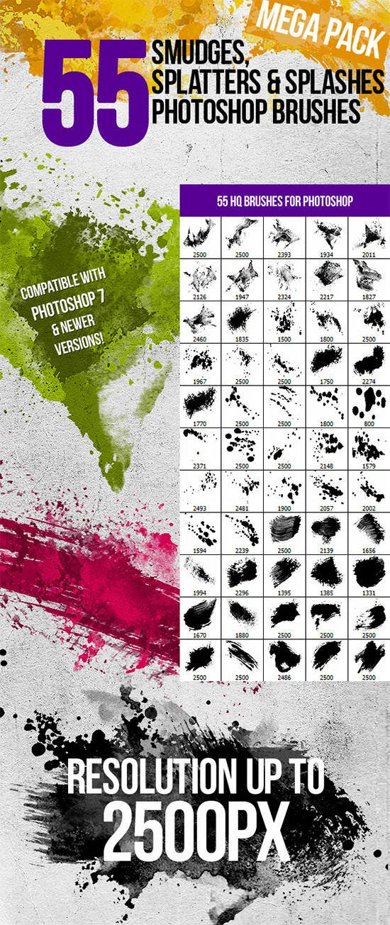55 splatters smudges splashes photoshop brushes