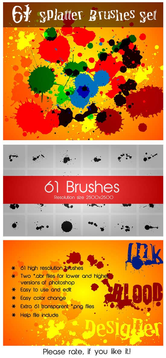 61 splatter brushes set