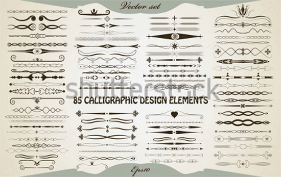 85 calligraphic design elements objects1