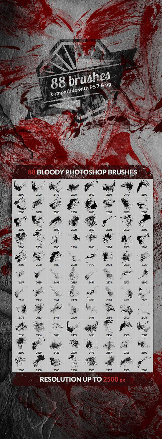 88 bloody splatters photoshop brushes