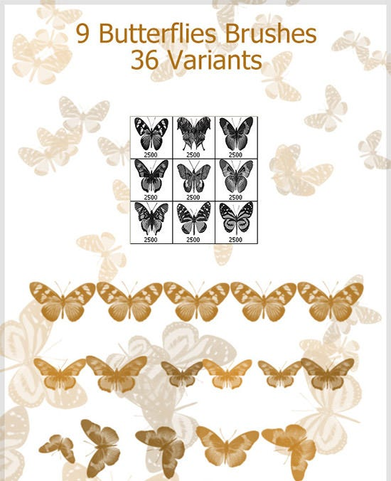 9 butterflies brushes 2