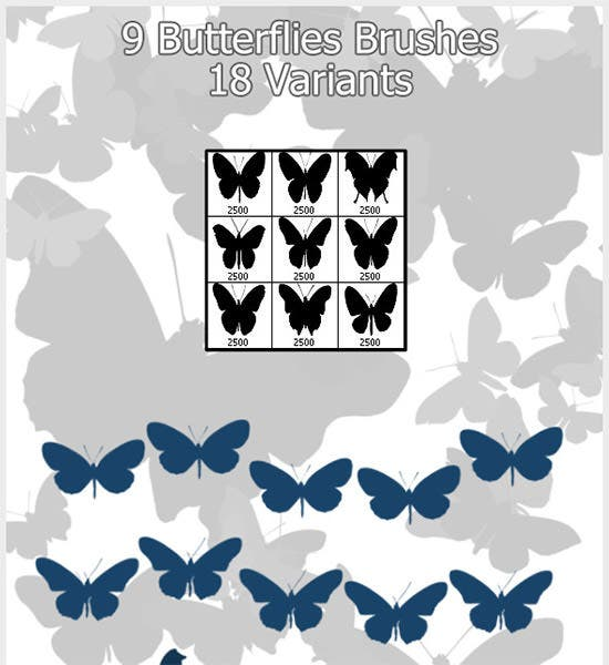 9 butterflies brushes