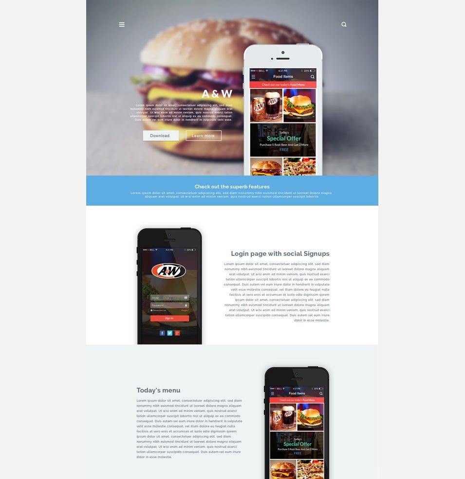 aw app landing page