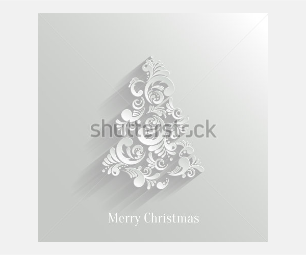 Absrtact Floral Christmas Tree Background, Trendy Design