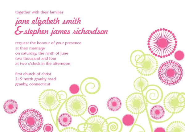 abstract circles modern wedding invitation