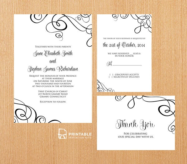 Abstract Ribbon Swirls Invitation Set