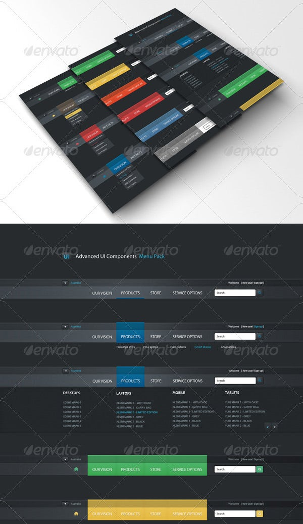 advanced ui components menu pack