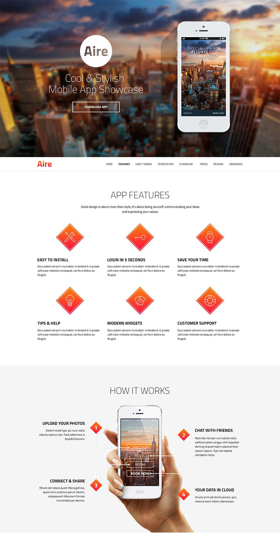 aire app landing page psd template