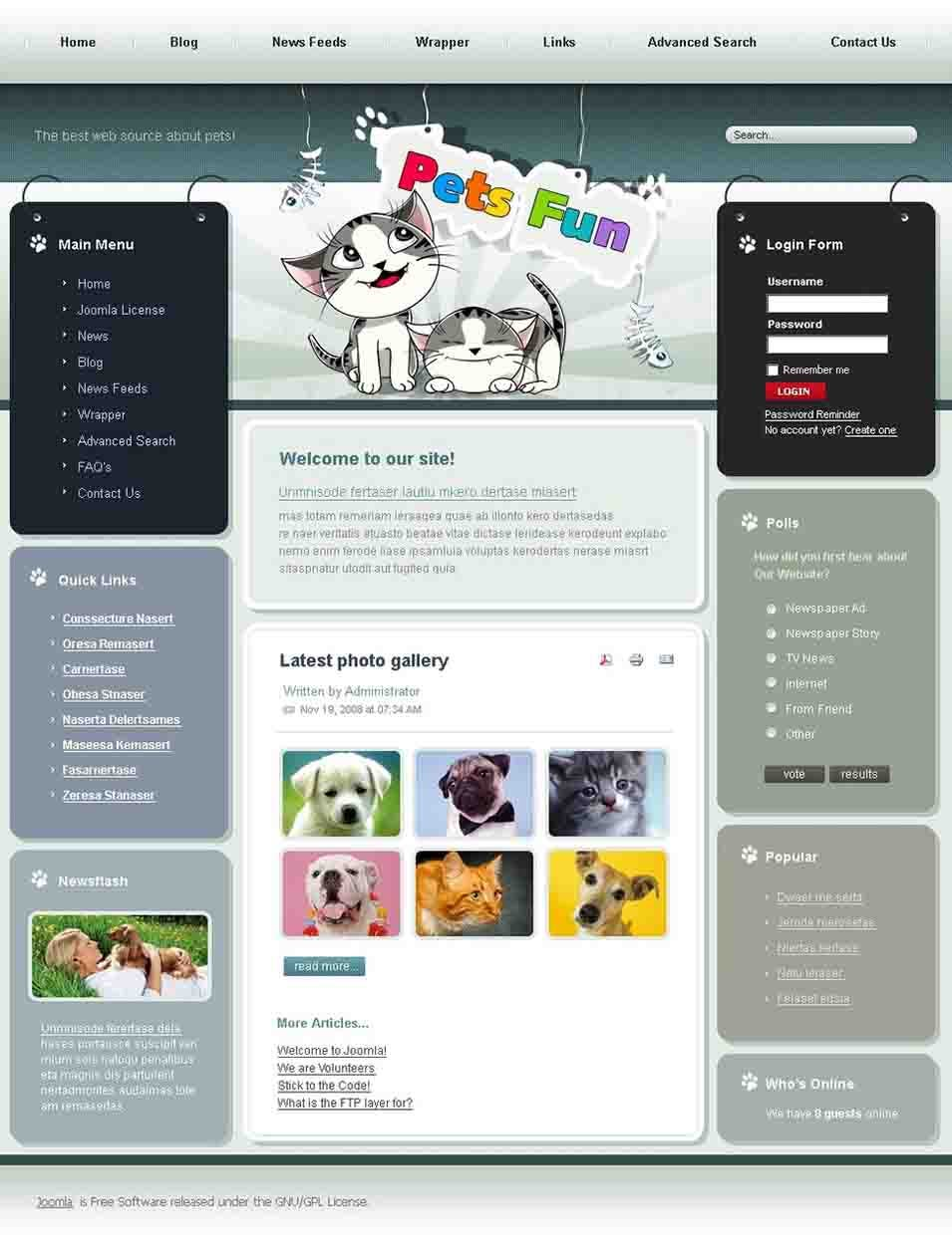animals pets joomla template23492