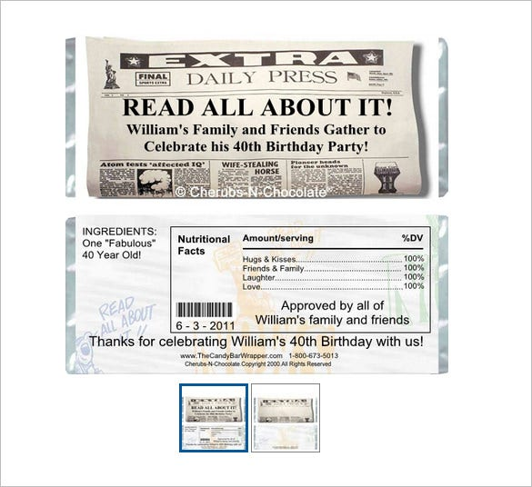 announcement sample candy bar wrapper