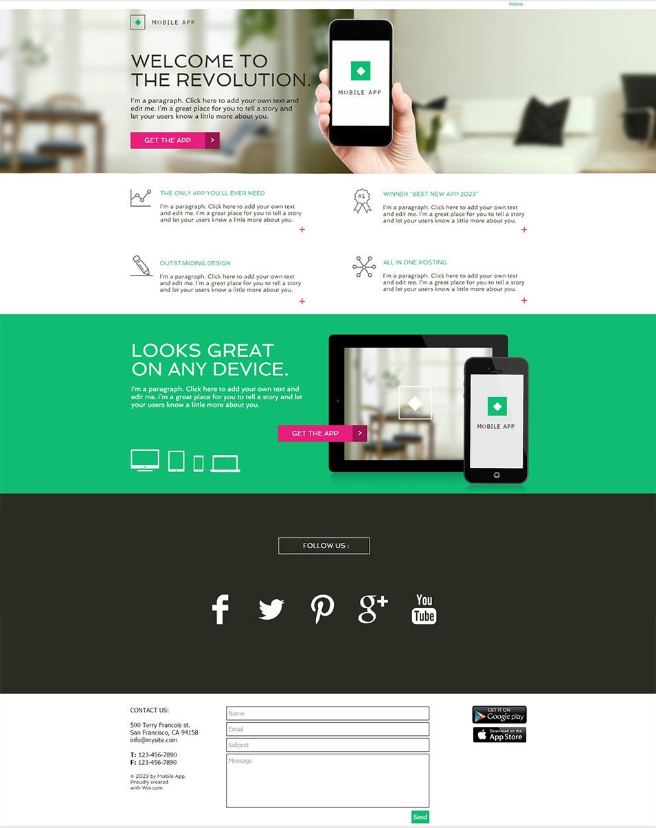 app landing page website template wix