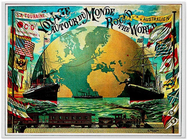 Around The World Voyage Vintage Travel Posters